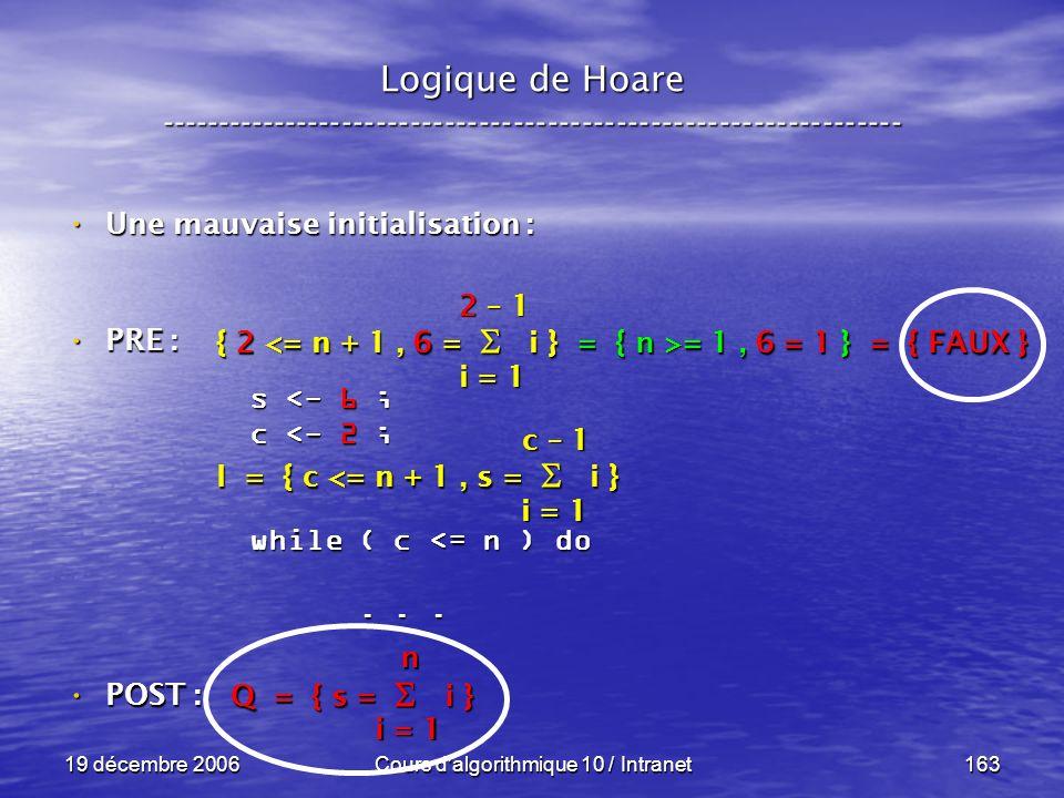19 décembre 2006Cours d algorithmique 10 / Intranet163 Logique de Hoare ----------------------------------------------------------------- s <- 6 ; c <- 2 ; while ( c <= n ) do......