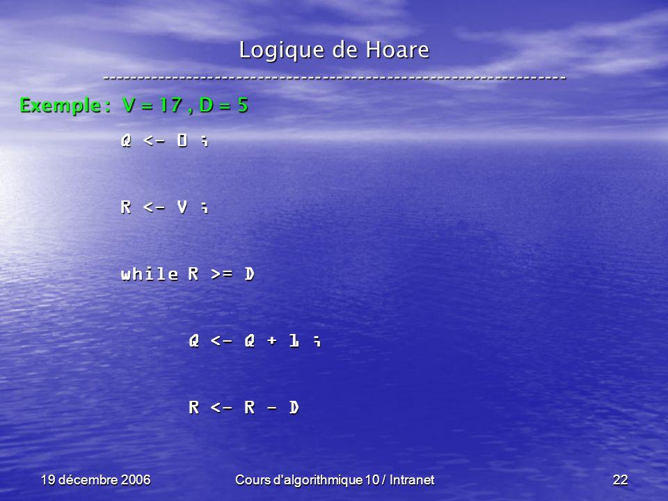 19 décembre 2006Cours d algorithmique 10 / Intranet22 Logique de Hoare ----------------------------------------------------------------- Exemple : V = 17, D = 5 Q <- 0 ; R <- V ; while R >= D Q <- Q + 1 ; Q <- Q + 1 ; R <- R - D R <- R - D