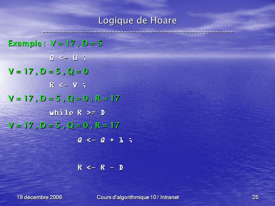 19 décembre 2006Cours d algorithmique 10 / Intranet25 Logique de Hoare ----------------------------------------------------------------- Exemple : V = 17, D = 5 V = 17, D = 5, Q = 0 Q <- 0 ; R <- V ; while R >= D Q <- Q + 1 ; Q <- Q + 1 ; R <- R - D R <- R - D V = 17, D = 5, Q = 0, R = 17