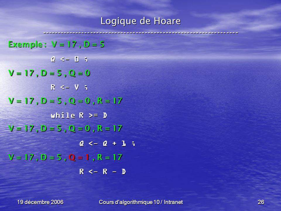 19 décembre 2006Cours d algorithmique 10 / Intranet26 Logique de Hoare ----------------------------------------------------------------- Exemple : V = 17, D = 5 V = 17, D = 5, Q = 0 Q <- 0 ; R <- V ; while R >= D Q <- Q + 1 ; Q <- Q + 1 ; R <- R - D R <- R - D V = 17, D = 5, Q = 0, R = 17 V = 17, D = 5, Q = 1, R = 17