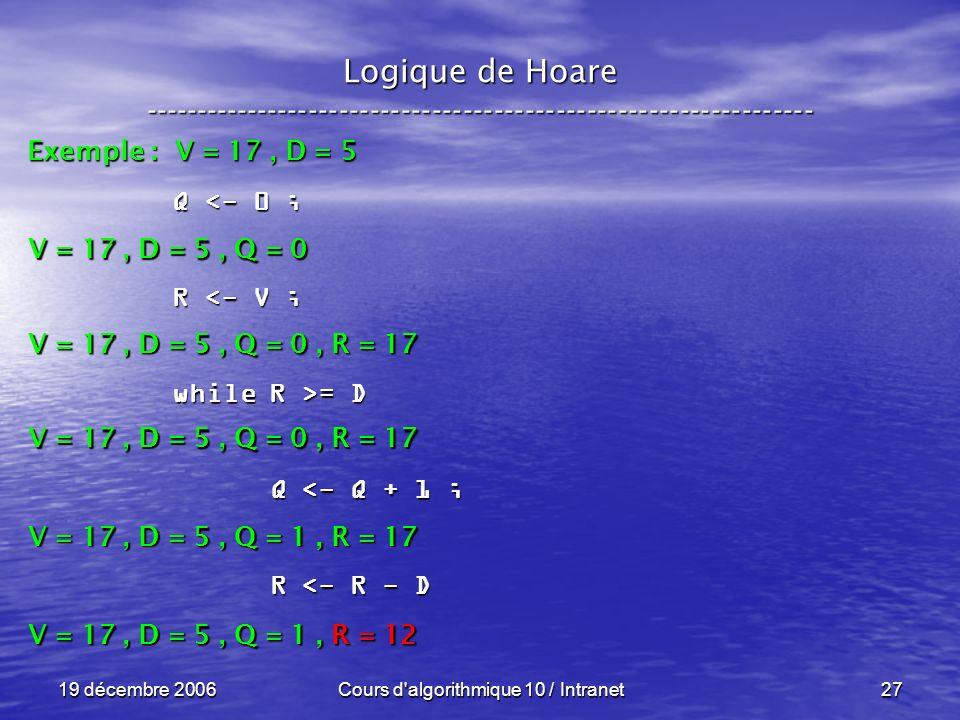19 décembre 2006Cours d algorithmique 10 / Intranet27 Logique de Hoare ----------------------------------------------------------------- Exemple : V = 17, D = 5 V = 17, D = 5, Q = 0 Q <- 0 ; R <- V ; while R >= D Q <- Q + 1 ; Q <- Q + 1 ; R <- R - D R <- R - D V = 17, D = 5, Q = 0, R = 17 V = 17, D = 5, Q = 1, R = 17 V = 17, D = 5, Q = 1, R = 12