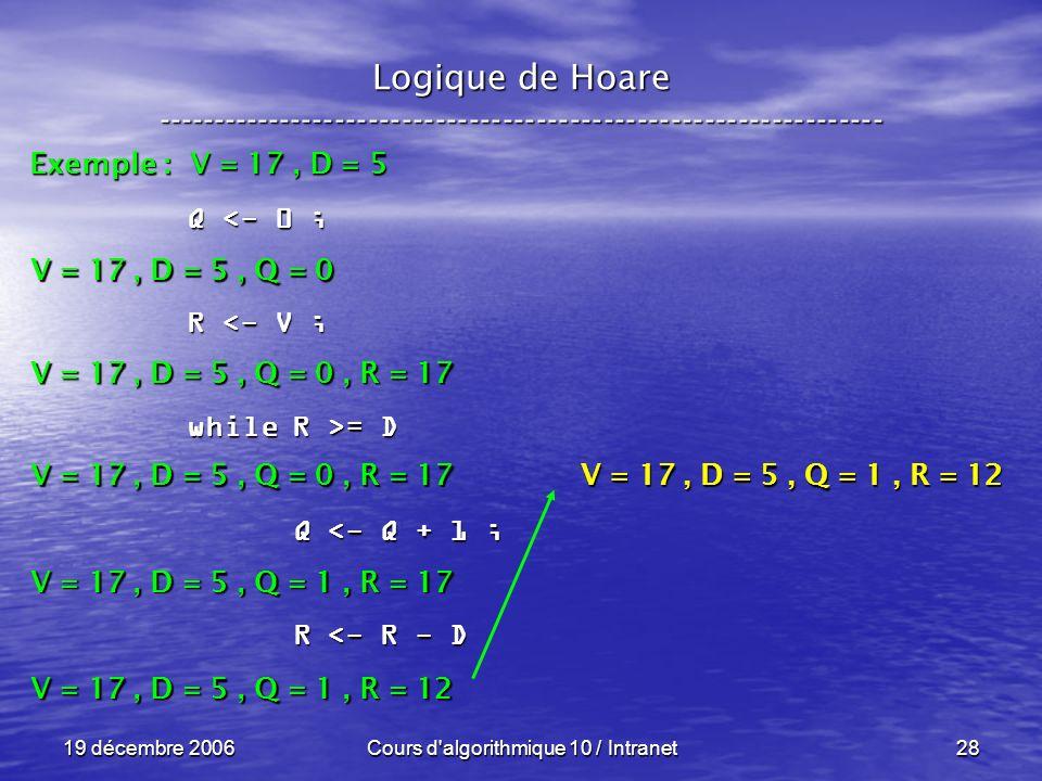 19 décembre 2006Cours d algorithmique 10 / Intranet28 Logique de Hoare ----------------------------------------------------------------- Exemple : V = 17, D = 5 V = 17, D = 5, Q = 0 Q <- 0 ; R <- V ; while R >= D Q <- Q + 1 ; Q <- Q + 1 ; R <- R - D R <- R - D V = 17, D = 5, Q = 0, R = 17 V = 17, D = 5, Q = 1, R = 17 V = 17, D = 5, Q = 1, R = 12