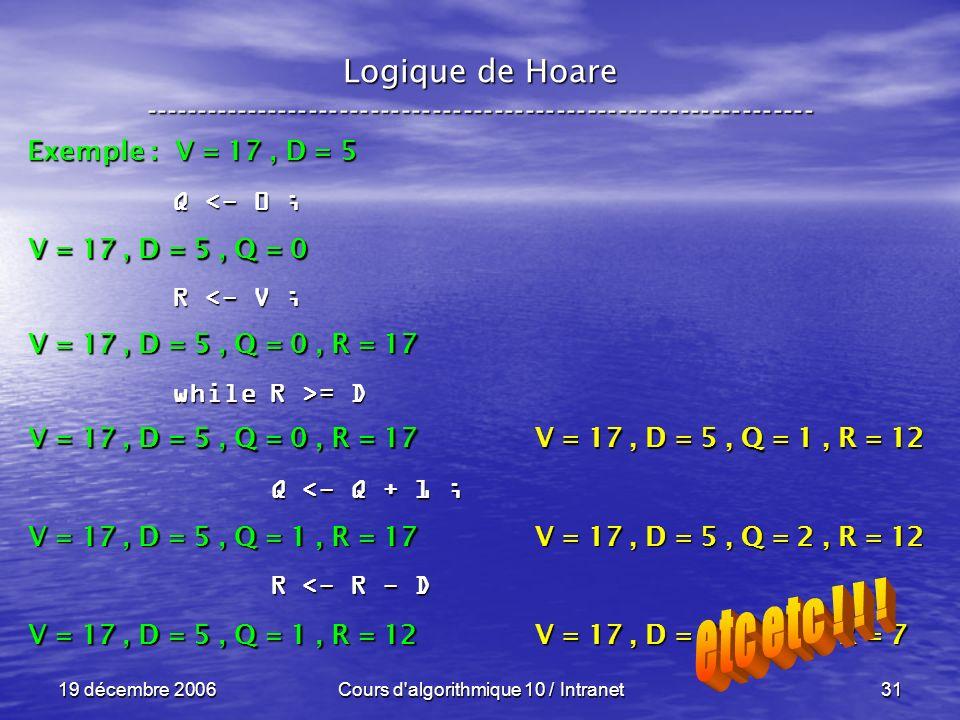 19 décembre 2006Cours d algorithmique 10 / Intranet31 Logique de Hoare ----------------------------------------------------------------- Exemple : V = 17, D = 5 V = 17, D = 5, Q = 0 Q <- 0 ; R <- V ; while R >= D Q <- Q + 1 ; Q <- Q + 1 ; R <- R - D R <- R - D V = 17, D = 5, Q = 0, R = 17 V = 17, D = 5, Q = 1, R = 17 V = 17, D = 5, Q = 1, R = 12 V = 17, D = 5, Q = 2, R = 12 V = 17, D = 5, Q = 2, R = 7