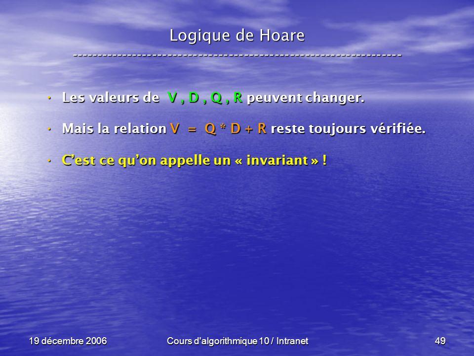 19 décembre 2006Cours d algorithmique 10 / Intranet49 Logique de Hoare ----------------------------------------------------------------- Les valeurs de V, D, Q, R peuvent changer.