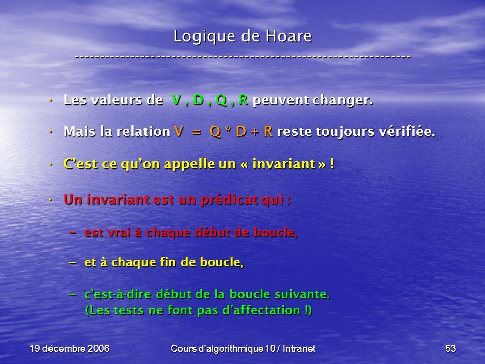 19 décembre 2006Cours d algorithmique 10 / Intranet53 Logique de Hoare ----------------------------------------------------------------- Les valeurs de V, D, Q, R peuvent changer.