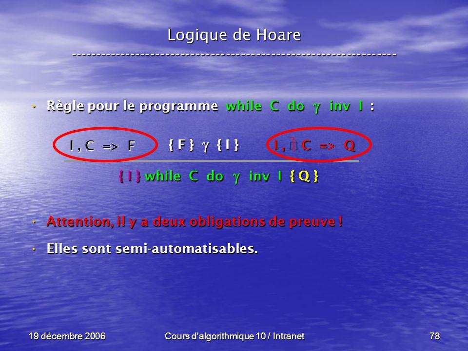 19 décembre 2006Cours d algorithmique 10 / Intranet78 Logique de Hoare ----------------------------------------------------------------- Règle pour le programme while C do inv I : Règle pour le programme while C do inv I : Attention, il y a deux obligations de preuve .