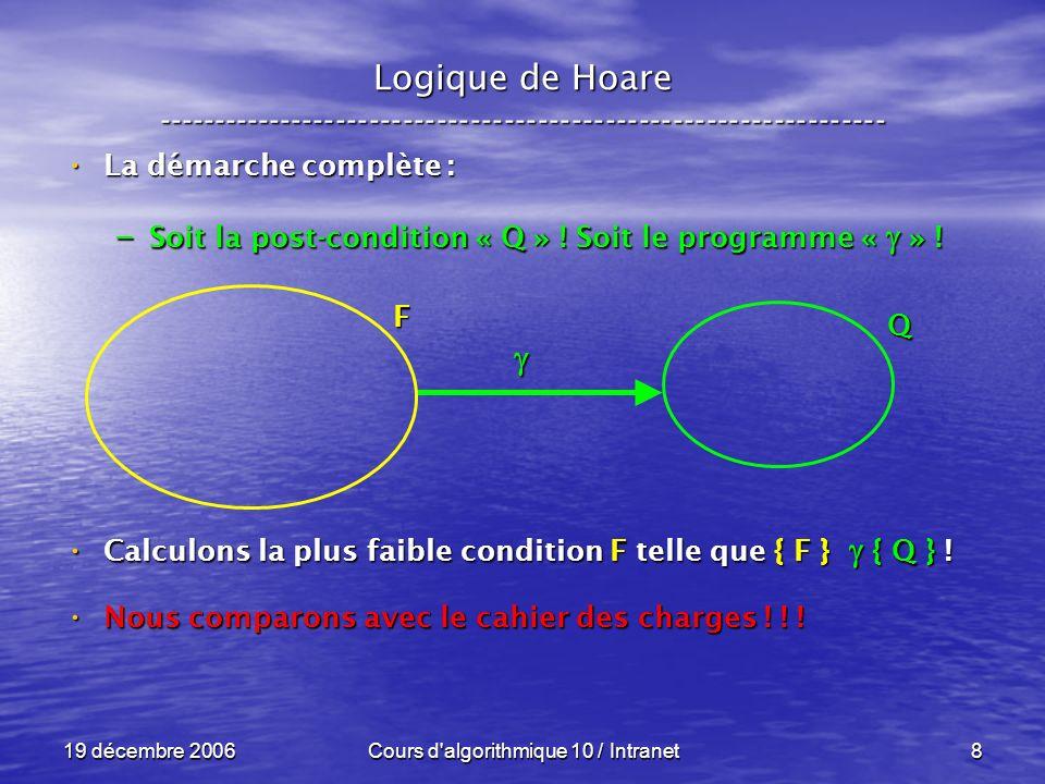19 décembre 2006Cours d algorithmique 10 / Intranet8 Logique de Hoare ----------------------------------------------------------------- La démarche complète : La démarche complète : – Soit la post-condition « Q » .
