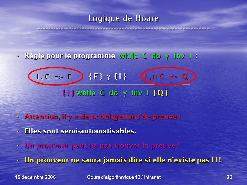 19 décembre 2006Cours d algorithmique 10 / Intranet80 Logique de Hoare ----------------------------------------------------------------- Règle pour le programme while C do inv I : Règle pour le programme while C do inv I : Attention, il y a deux obligations de preuve .