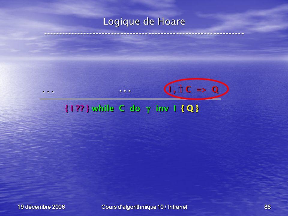 19 décembre 2006Cours d algorithmique 10 / Intranet88 Logique de Hoare -----------------------------------------------------------------...