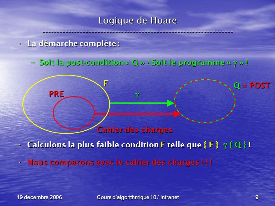 19 décembre 2006Cours d algorithmique 10 / Intranet9 Logique de Hoare ----------------------------------------------------------------- La démarche complète : La démarche complète : – Soit la post-condition « Q » .