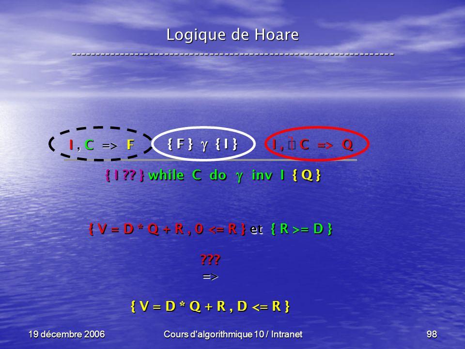 19 décembre 2006Cours d algorithmique 10 / Intranet98 Logique de Hoare ----------------------------------------------------------------- { F } { I } I, C => Q { I .