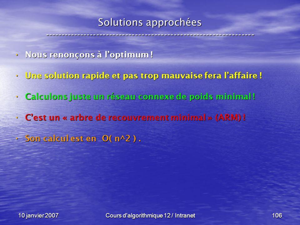 10 janvier 2007Cours d'algorithmique 12 / Intranet106 Solutions approchées ----------------------------------------------------------------- Nous reno