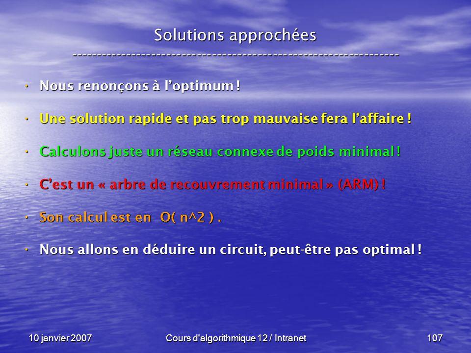 10 janvier 2007Cours d'algorithmique 12 / Intranet107 Solutions approchées ----------------------------------------------------------------- Nous reno
