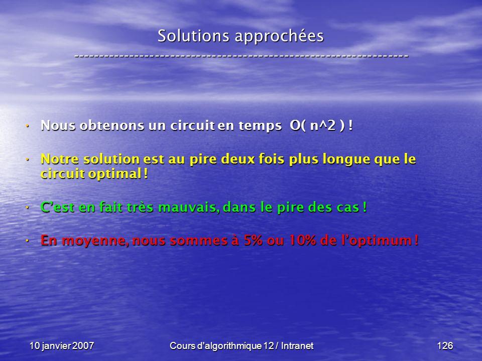 10 janvier 2007Cours d'algorithmique 12 / Intranet126 Solutions approchées ----------------------------------------------------------------- Nous obte
