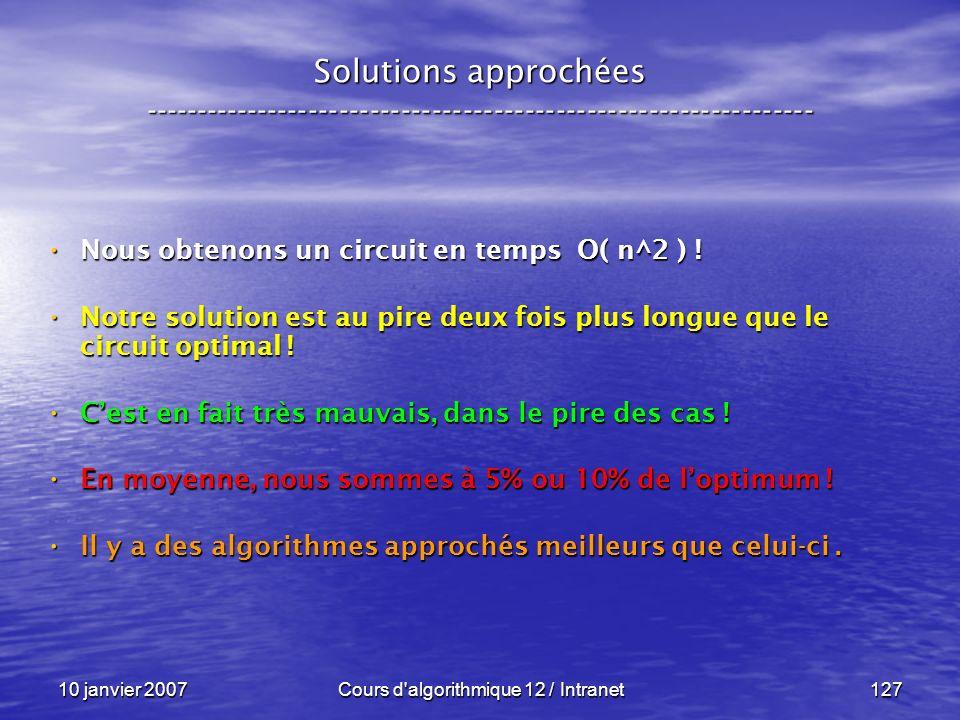 10 janvier 2007Cours d'algorithmique 12 / Intranet127 Solutions approchées ----------------------------------------------------------------- Nous obte