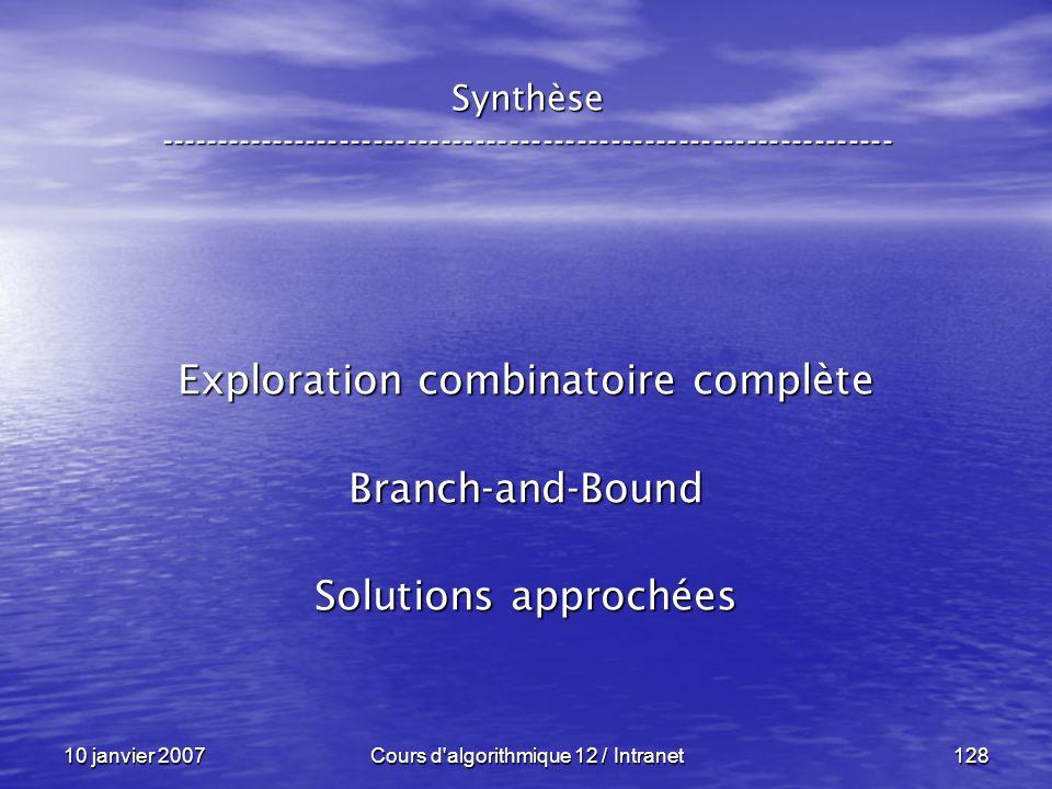 10 janvier 2007Cours d'algorithmique 12 / Intranet128 Synthèse ----------------------------------------------------------------- Exploration combinato