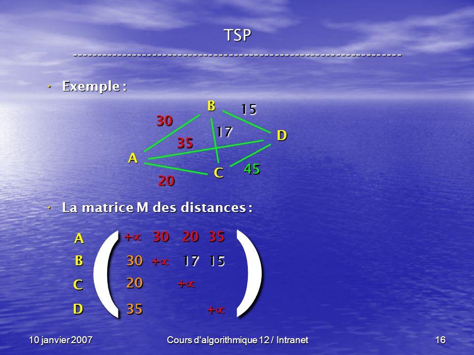 10 janvier 2007Cours d'algorithmique 12 / Intranet16 Exemple : Exemple : La matrice M des distances : La matrice M des distances : A B C D 30 35 20 45