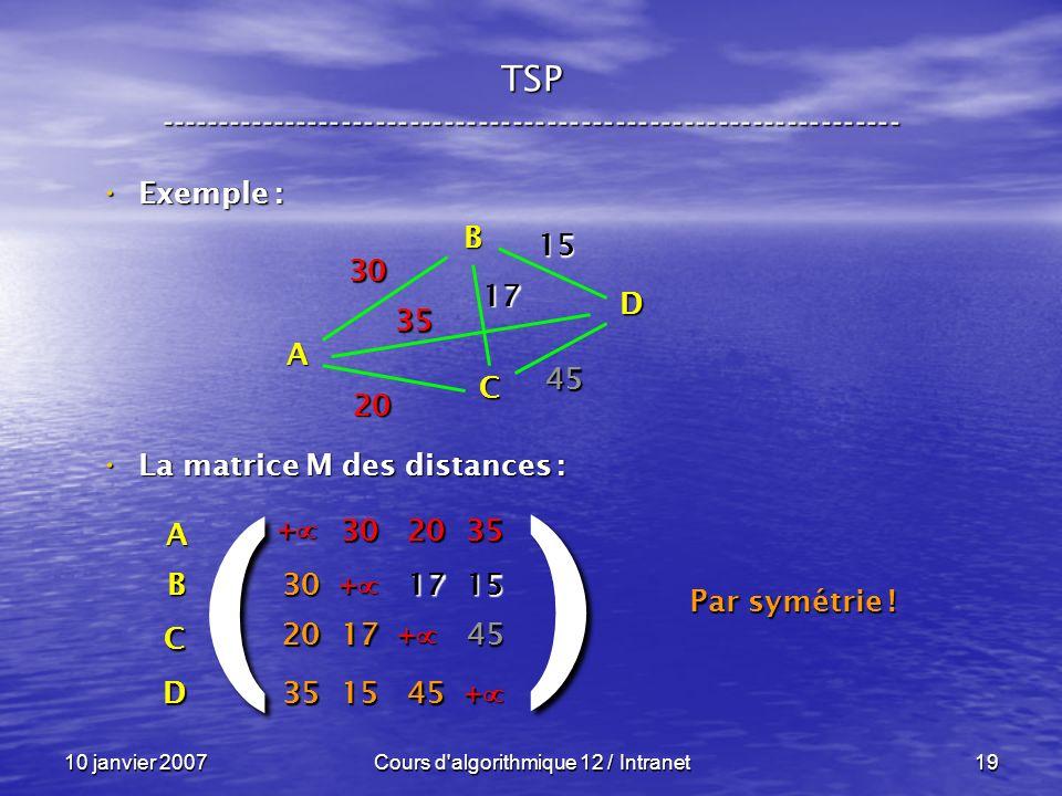 10 janvier 2007Cours d'algorithmique 12 / Intranet19 Exemple : Exemple : La matrice M des distances : La matrice M des distances : A B C D 30 35 20 45