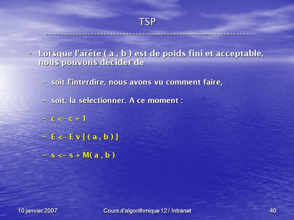 10 janvier 2007Cours d'algorithmique 12 / Intranet40 Lorsque larête ( a, b ) est de poids fini et acceptable, nous pouvons décider de Lorsque larête (