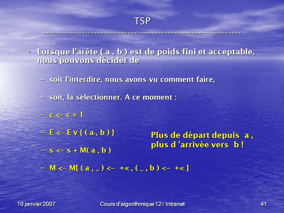 10 janvier 2007Cours d'algorithmique 12 / Intranet41 Lorsque larête ( a, b ) est de poids fini et acceptable, nous pouvons décider de Lorsque larête (