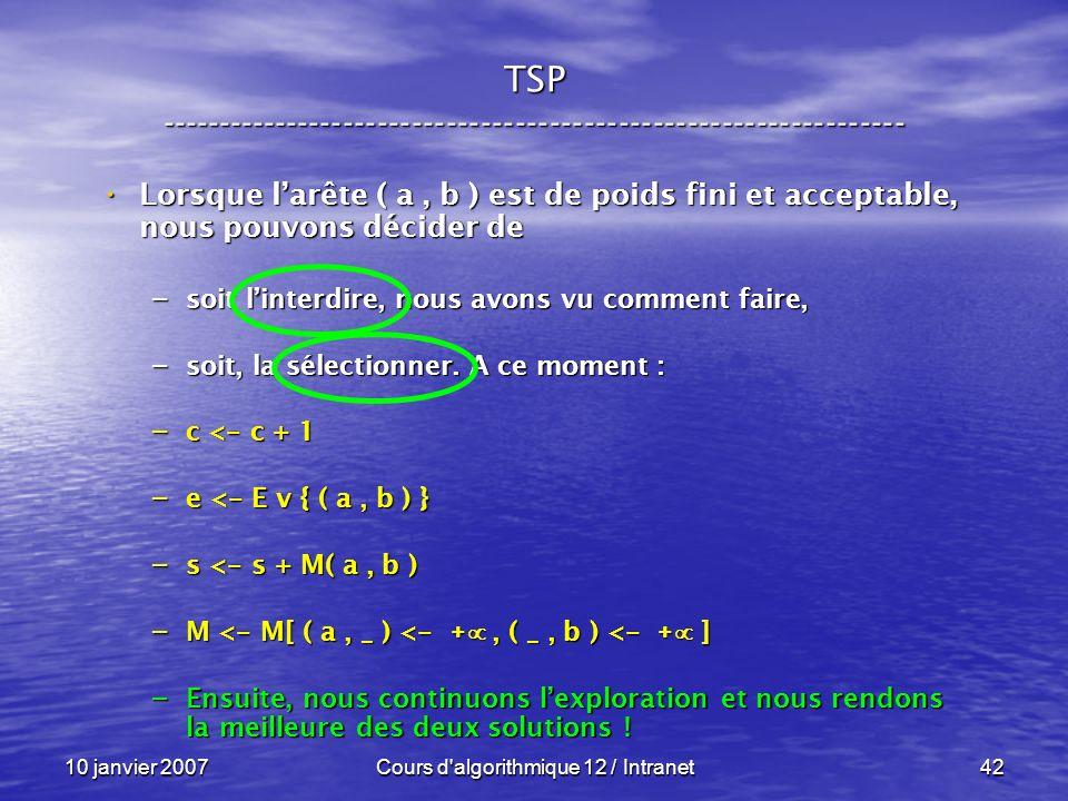 10 janvier 2007Cours d'algorithmique 12 / Intranet42 Lorsque larête ( a, b ) est de poids fini et acceptable, nous pouvons décider de Lorsque larête (