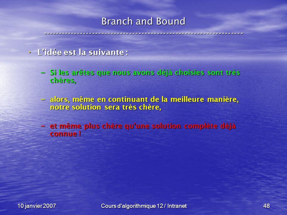 10 janvier 2007Cours d'algorithmique 12 / Intranet48 Lidée est la suivante : Lidée est la suivante : – Si les arêtes que nous avons déjà choisies sont