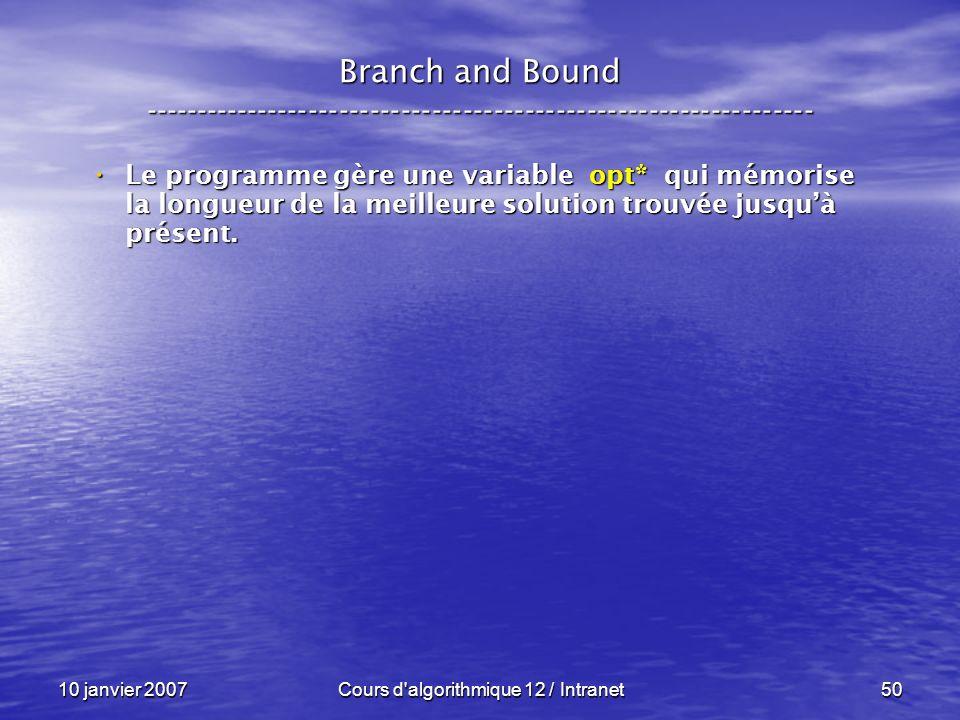 10 janvier 2007Cours d'algorithmique 12 / Intranet50 Le programme gère une variable opt* qui mémorise la longueur de la meilleure solution trouvée jus