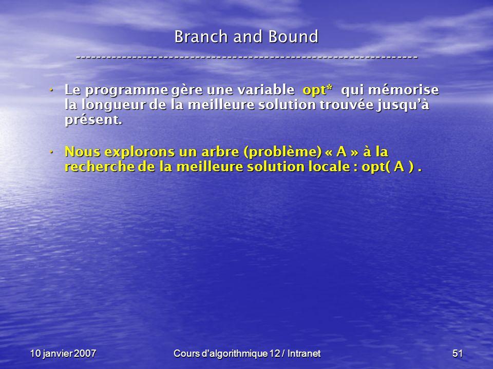 10 janvier 2007Cours d'algorithmique 12 / Intranet51 Le programme gère une variable opt* qui mémorise la longueur de la meilleure solution trouvée jus