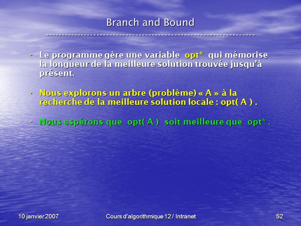10 janvier 2007Cours d'algorithmique 12 / Intranet52 Le programme gère une variable opt* qui mémorise la longueur de la meilleure solution trouvée jus