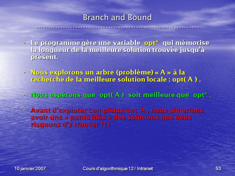 10 janvier 2007Cours d'algorithmique 12 / Intranet53 Le programme gère une variable opt* qui mémorise la longueur de la meilleure solution trouvée jus