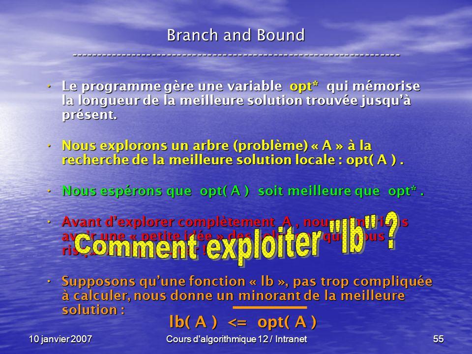 10 janvier 2007Cours d'algorithmique 12 / Intranet55 Le programme gère une variable opt* qui mémorise la longueur de la meilleure solution trouvée jus