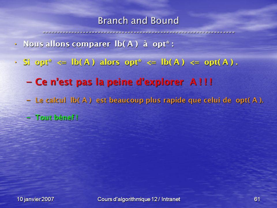 10 janvier 2007Cours d'algorithmique 12 / Intranet61 Nous allons comparer lb( A ) à opt* : Nous allons comparer lb( A ) à opt* : Si opt* <= lb( A ) al