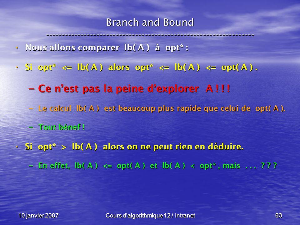 10 janvier 2007Cours d'algorithmique 12 / Intranet63 Nous allons comparer lb( A ) à opt* : Nous allons comparer lb( A ) à opt* : Si opt* <= lb( A ) al