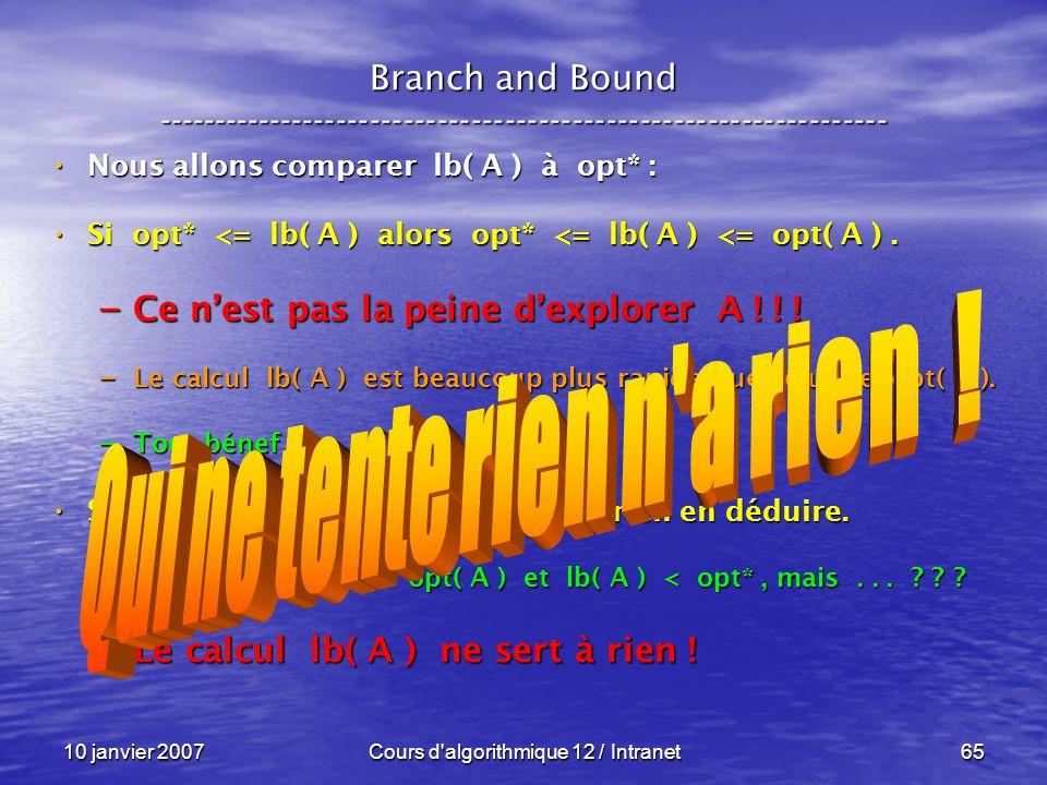 10 janvier 2007Cours d'algorithmique 12 / Intranet65 Nous allons comparer lb( A ) à opt* : Nous allons comparer lb( A ) à opt* : Si opt* <= lb( A ) al