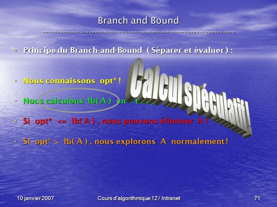 10 janvier 2007Cours d'algorithmique 12 / Intranet71 Principe du Branch-and-Bound ( Séparer et évaluer ) : Principe du Branch-and-Bound ( Séparer et é