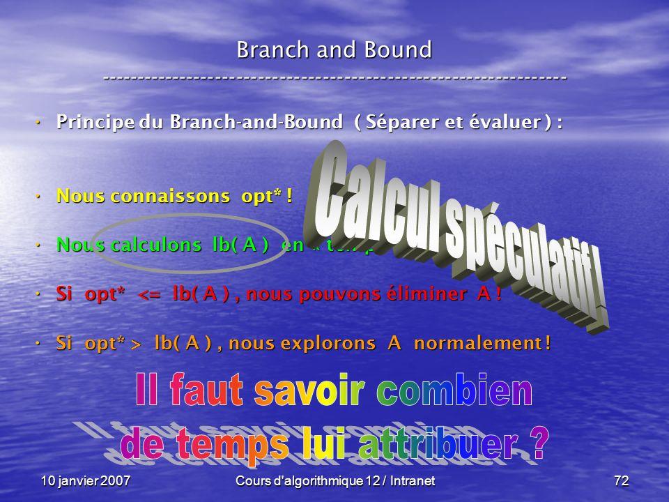 10 janvier 2007Cours d'algorithmique 12 / Intranet72 Principe du Branch-and-Bound ( Séparer et évaluer ) : Principe du Branch-and-Bound ( Séparer et é
