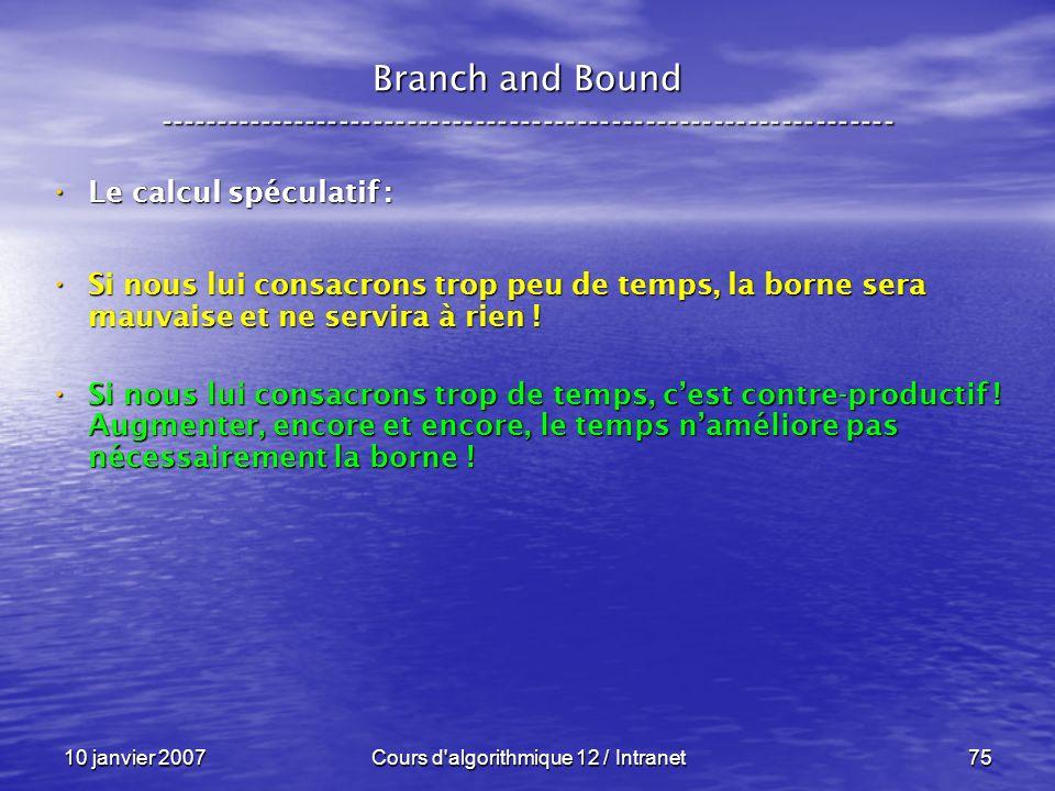 10 janvier 2007Cours d'algorithmique 12 / Intranet75 Le calcul spéculatif : Le calcul spéculatif : Si nous lui consacrons trop peu de temps, la borne