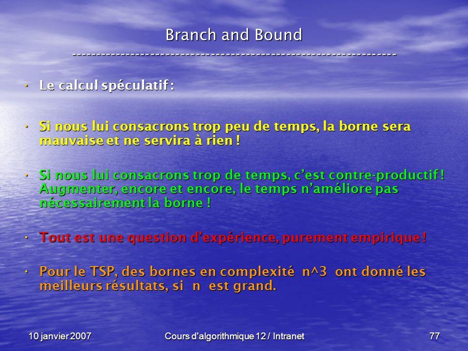 10 janvier 2007Cours d'algorithmique 12 / Intranet77 Le calcul spéculatif : Le calcul spéculatif : Si nous lui consacrons trop peu de temps, la borne