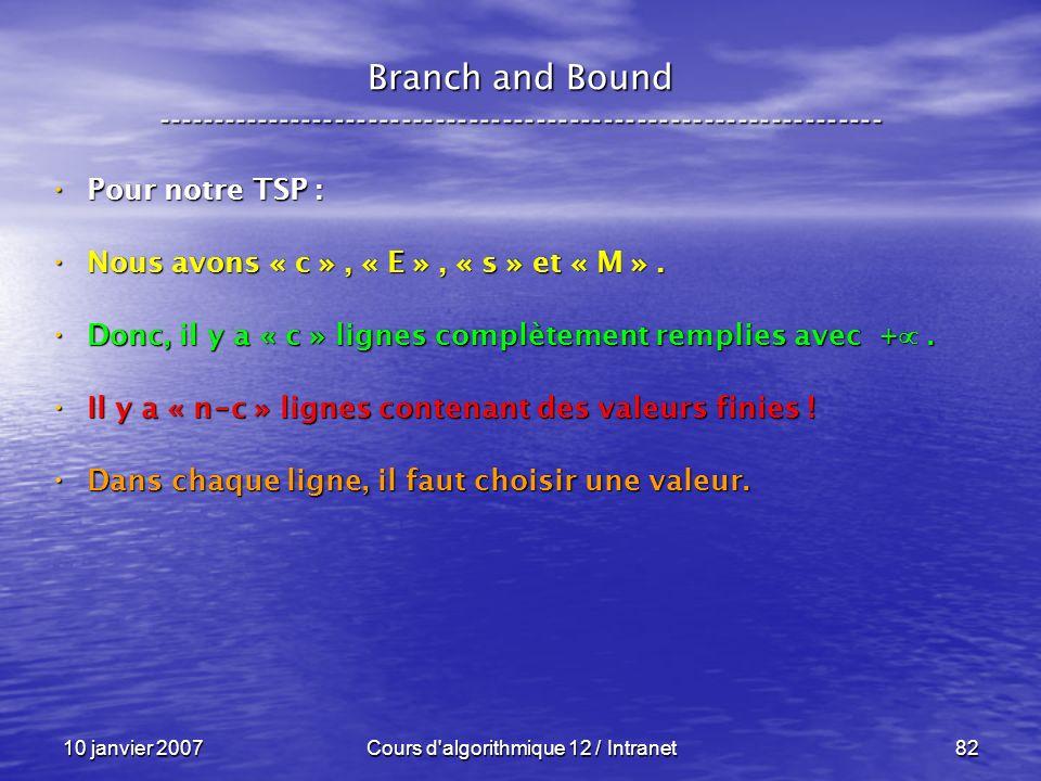 10 janvier 2007Cours d'algorithmique 12 / Intranet82 Pour notre TSP : Pour notre TSP : Nous avons « c », « E », « s » et « M ». Nous avons « c », « E