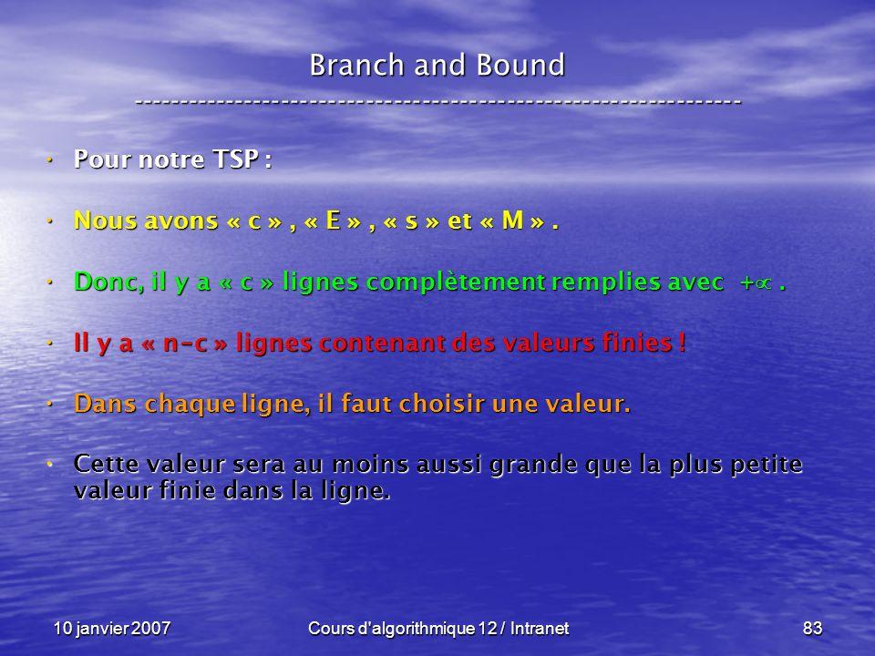 10 janvier 2007Cours d'algorithmique 12 / Intranet83 Pour notre TSP : Pour notre TSP : Nous avons « c », « E », « s » et « M ». Nous avons « c », « E