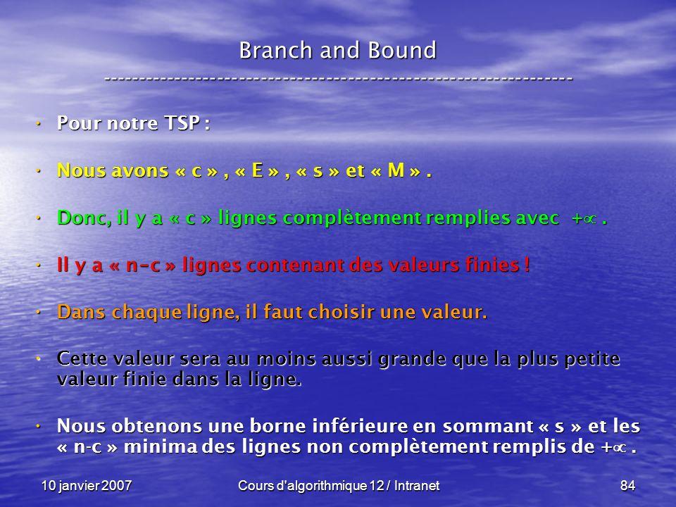 10 janvier 2007Cours d'algorithmique 12 / Intranet84 Pour notre TSP : Pour notre TSP : Nous avons « c », « E », « s » et « M ». Nous avons « c », « E