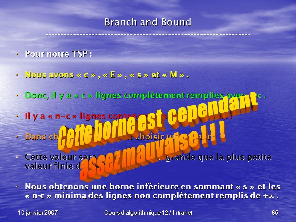 10 janvier 2007Cours d'algorithmique 12 / Intranet85 Pour notre TSP : Pour notre TSP : Nous avons « c », « E », « s » et « M ». Nous avons « c », « E