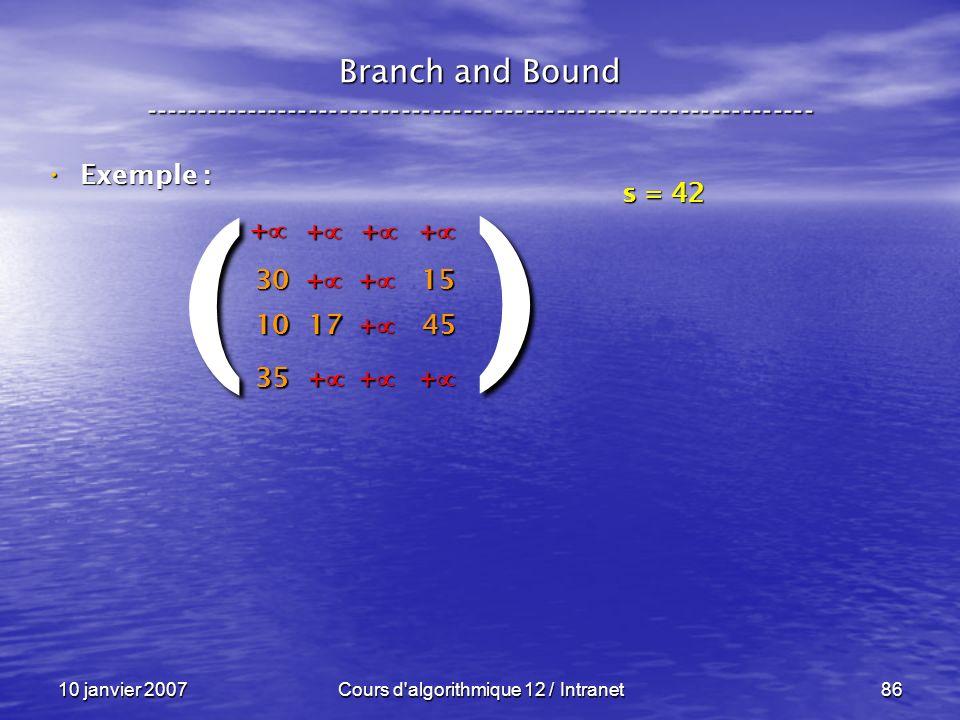 10 janvier 2007Cours d'algorithmique 12 / Intranet86 Exemple : Exemple : Branch and Bound ------------------------------------------------------------