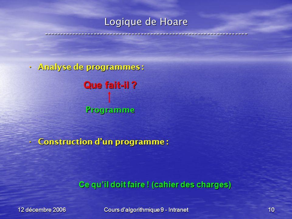 12 décembre 2006Cours d algorithmique 9 - Intranet10 Logique de Hoare ----------------------------------------------------------------- Analyse de programmes : Analyse de programmes :Programme Construction dun programme : Construction dun programme : Ce quil doit faire .