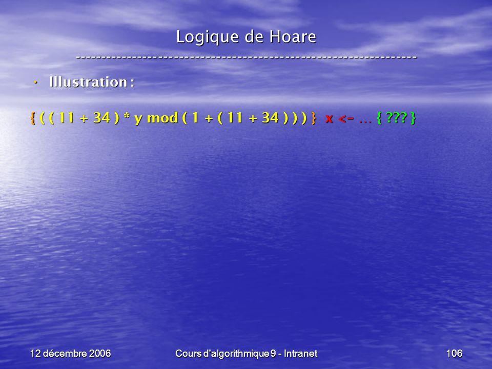 12 décembre 2006Cours d algorithmique 9 - Intranet106 Logique de Hoare ----------------------------------------------------------------- Illustration : Illustration : { ( ( 11 + 34 ) * y mod ( 1 + ( 11 + 34 ) ) ) } x < - … { .