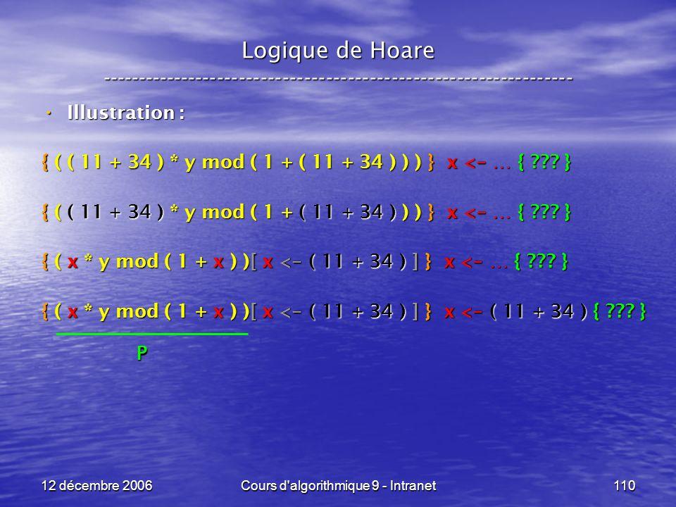 12 décembre 2006Cours d algorithmique 9 - Intranet110 Logique de Hoare ----------------------------------------------------------------- Illustration : Illustration : { ( ( 11 + 34 ) * y mod ( 1 + ( 11 + 34 ) ) ) } x < - … { .
