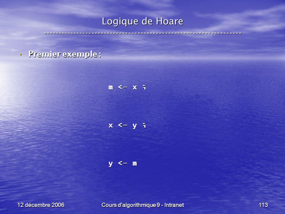 12 décembre 2006Cours d algorithmique 9 - Intranet113 Logique de Hoare ----------------------------------------------------------------- Premier exemple : Premier exemple : m <- x ; x <- y ; y <- m