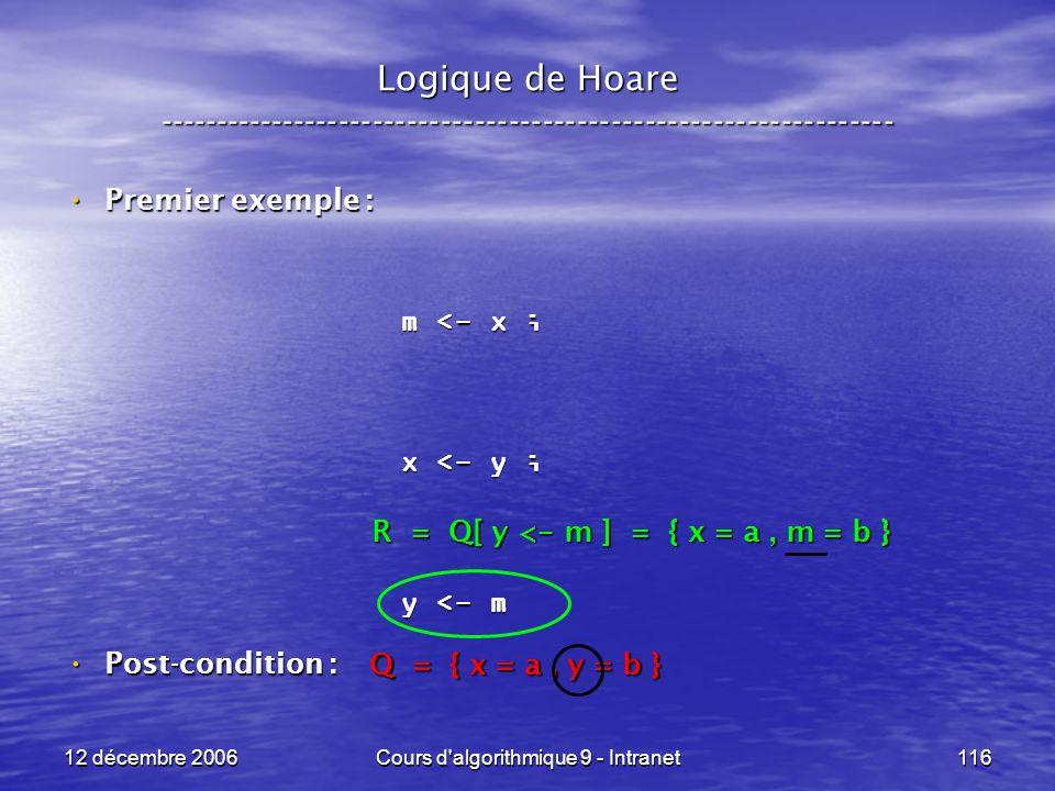 12 décembre 2006Cours d algorithmique 9 - Intranet116 Logique de Hoare ----------------------------------------------------------------- Premier exemple : Premier exemple : Post-condition : Post-condition : m <- x ; x <- y ; y <- m Q = { x = a, y = b } R = Q[ y < - m ] = { x = a, m = b }