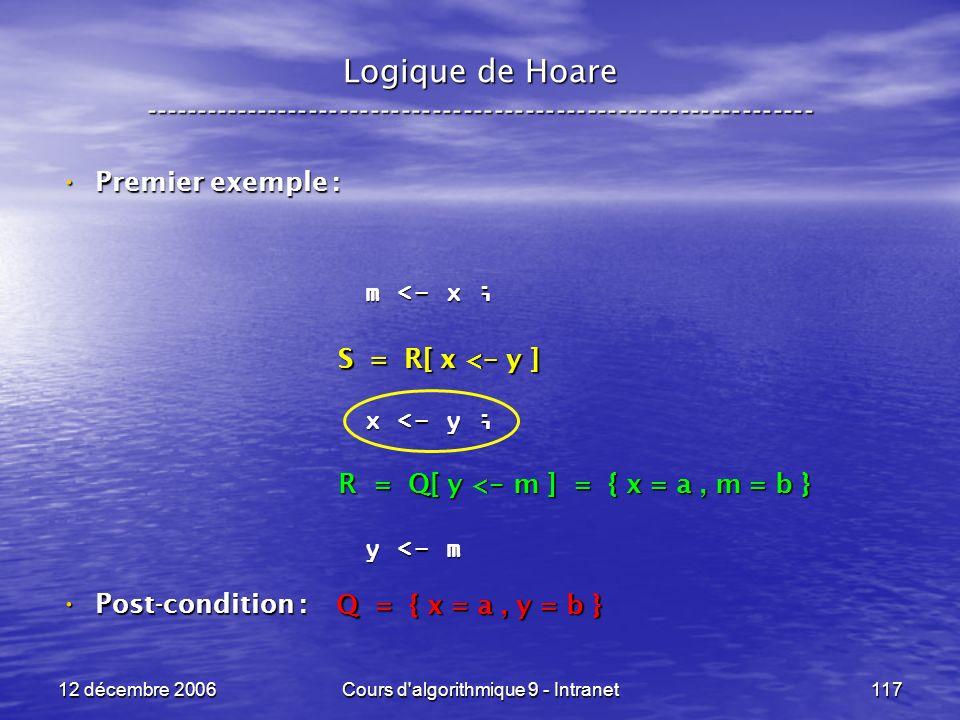 12 décembre 2006Cours d algorithmique 9 - Intranet117 Logique de Hoare ----------------------------------------------------------------- Premier exemple : Premier exemple : Post-condition : Post-condition : m <- x ; x <- y ; y <- m Q = { x = a, y = b } R = Q[ y < - m ] = { x = a, m = b } S = R[ x < - y ]