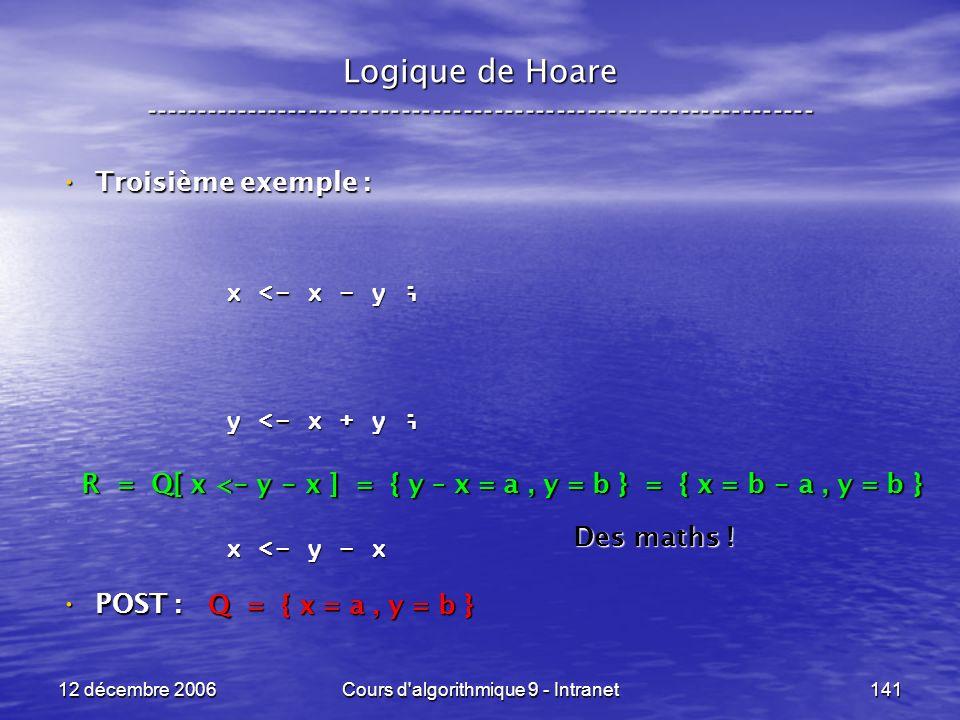 12 décembre 2006Cours d algorithmique 9 - Intranet141 Logique de Hoare ----------------------------------------------------------------- Troisième exemple : Troisième exemple : POST : POST : x <- x - y ; y <- x + y ; x <- y - x Q = { x = a, y = b } R = Q[ x < - y - x ] = { y – x = a, y = b } = { x = b - a, y = b } Des maths !